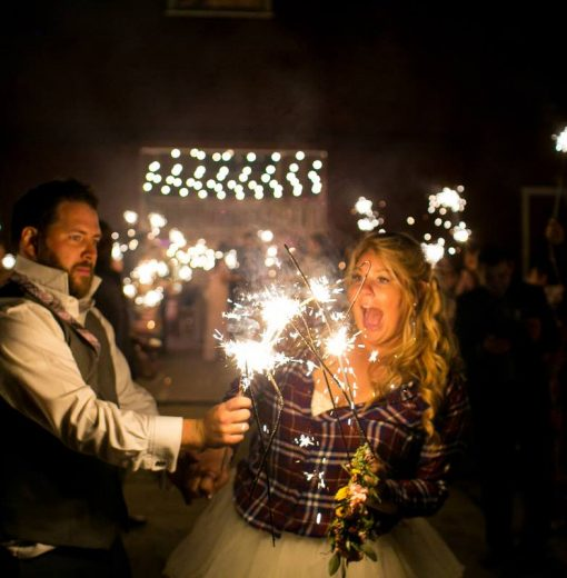 Bride & Groom Sparklers at Night
