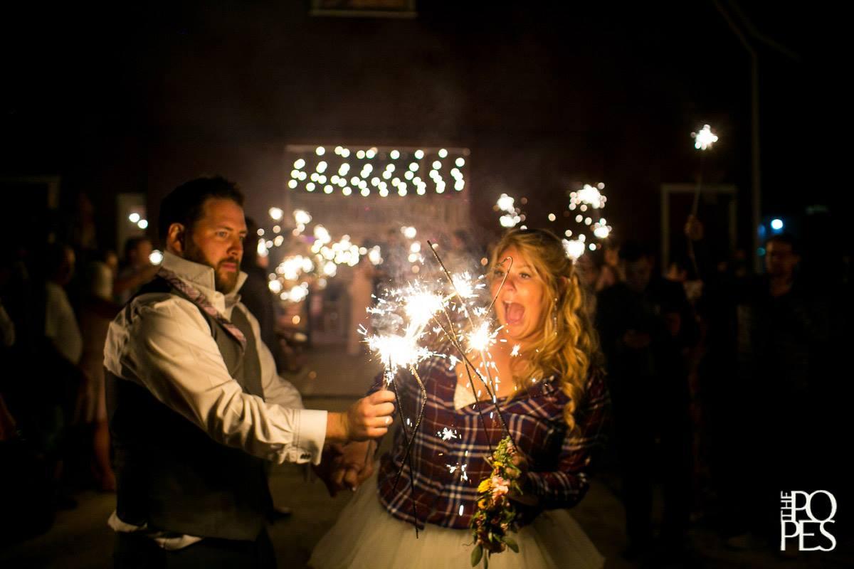 Bride & Groom Sparklers at Night
