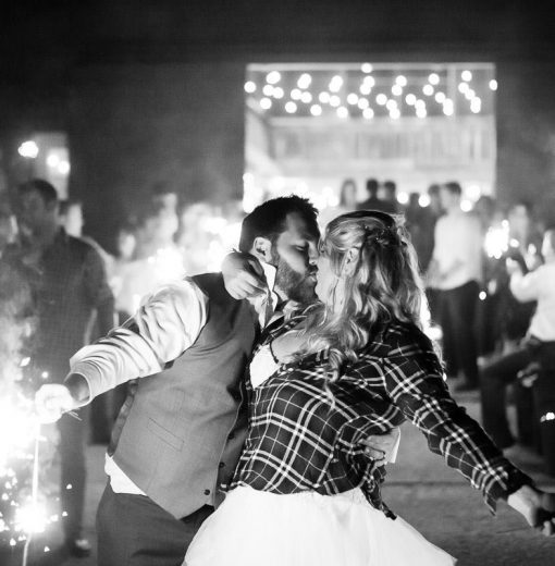 Bride & Groom with Sparklers at Night