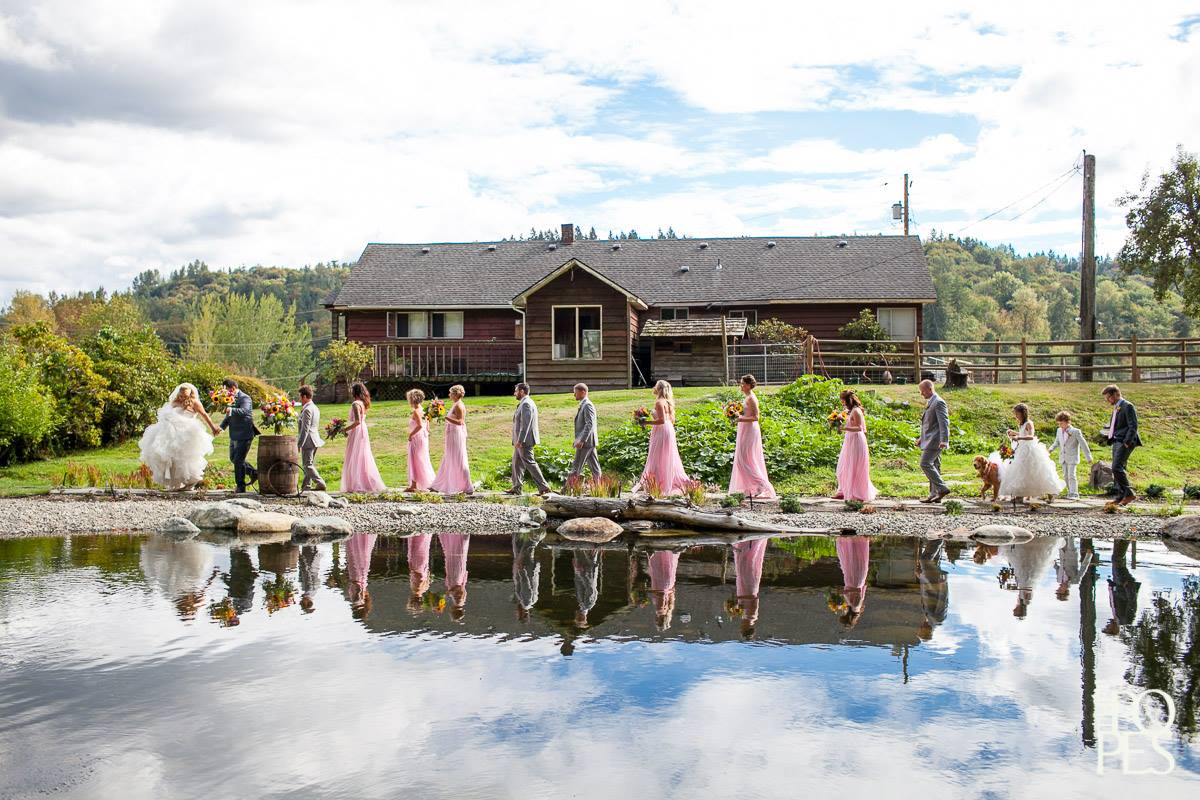 Bridal Party by Pond
