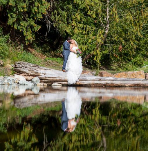 Bride & Groom by Pond