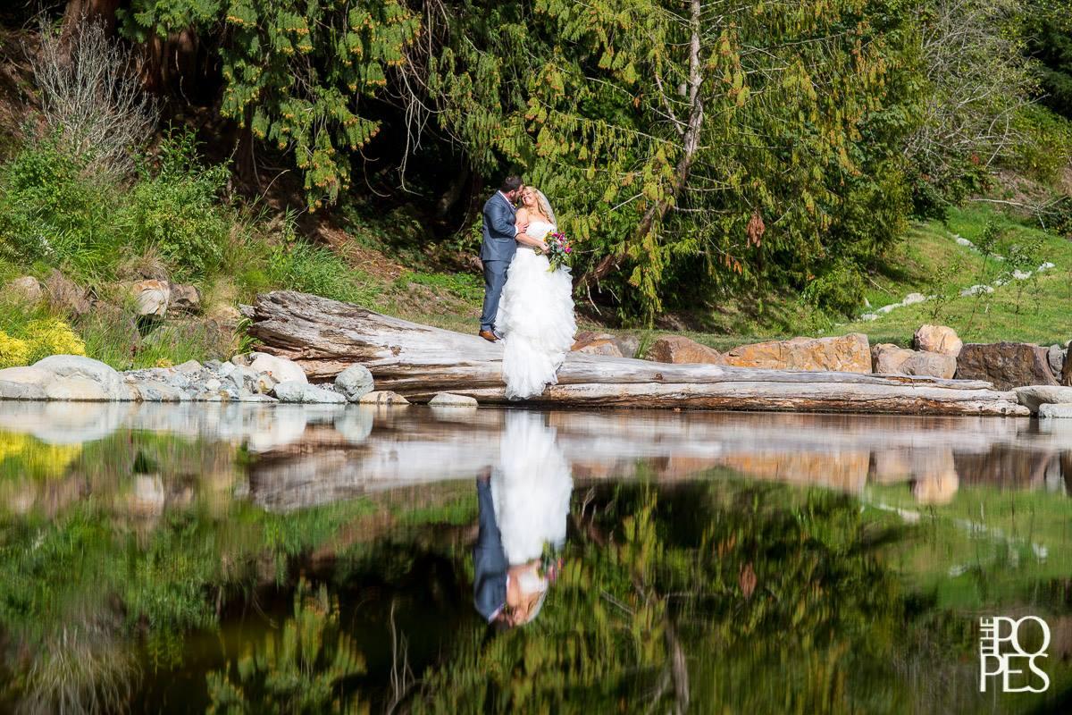 Bride & Groom by Pond